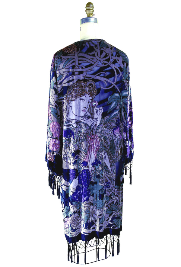 Vintage Velvet Art Nouveau Beaded Fringe Scarf Coat - Mucha Mystique - Purple - The Deco Haus
