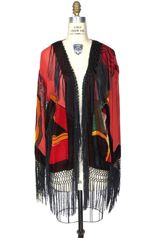 1930's Vintage Silk Velvet Art Deco Fringe Scarf Coat - The Picasso - Red