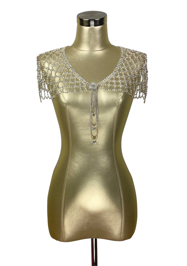 1930s Art Deco Crystal Glamour Wedding Capelet - The Deco Doll - Silver - The Deco Haus