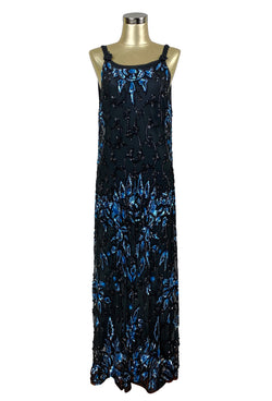 1920s Evening Dresses & Formal Gowns 1930S SEQUIN FULL LENGTH GLAMOUR OVERLAY GOWN - THE NOCTURNE - BLACK BLUE $449.95 AT vintagedancer.com