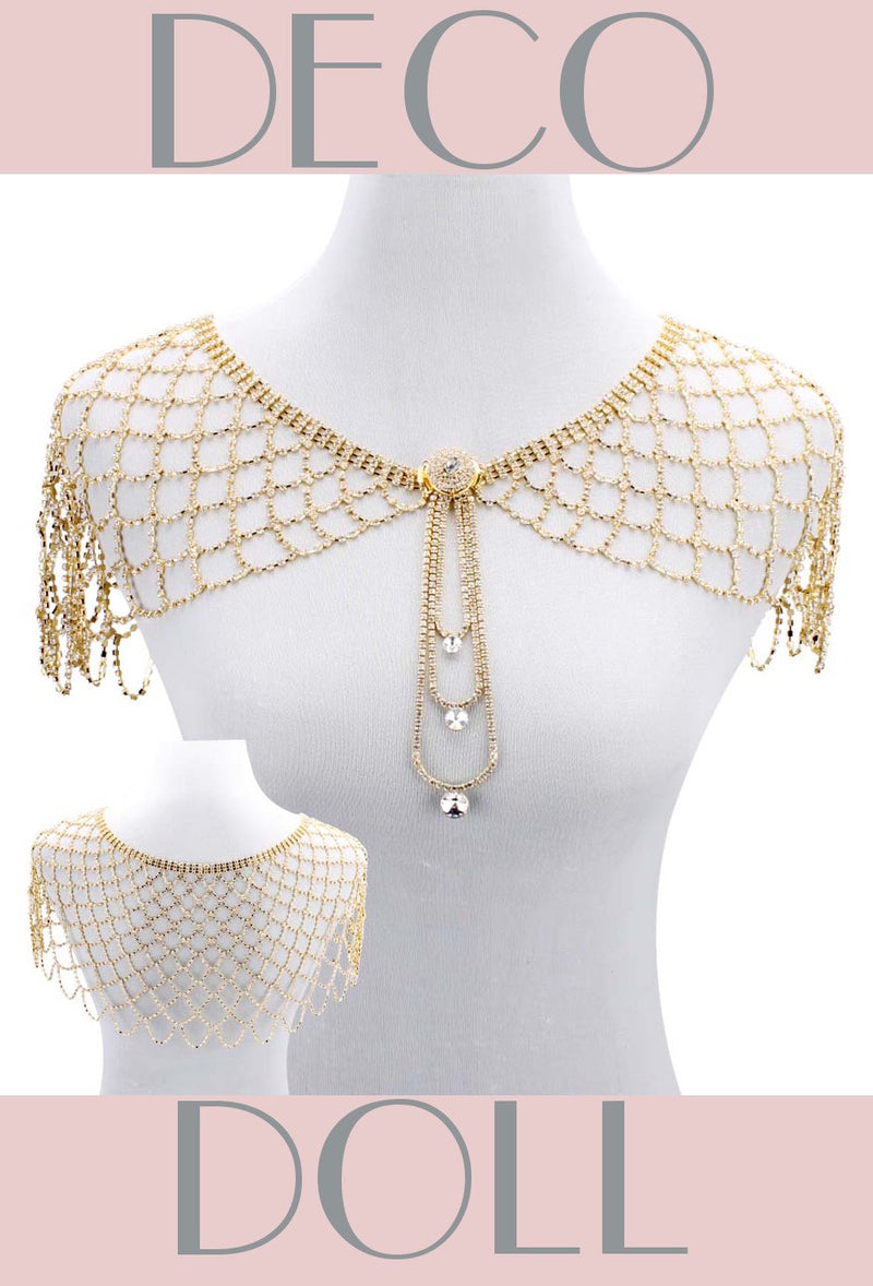 1930s Art Deco Crystal Glamour Wedding Capelet - The Deco Doll - Glamour Gold - The Deco Haus