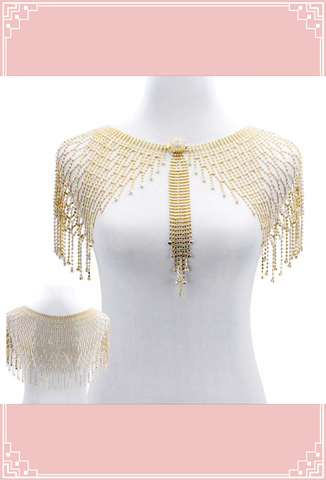 1930s Art Deco Crystal Glamour Wedding Capelet - The Deco Siren - Gold