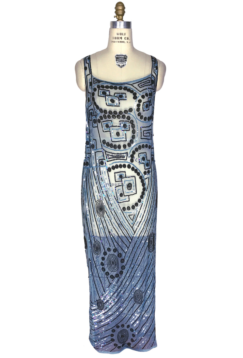 1930s Sequin Beaded Full Length Overlay Gown - The Futurist - Cerulean Blue - The Deco Haus