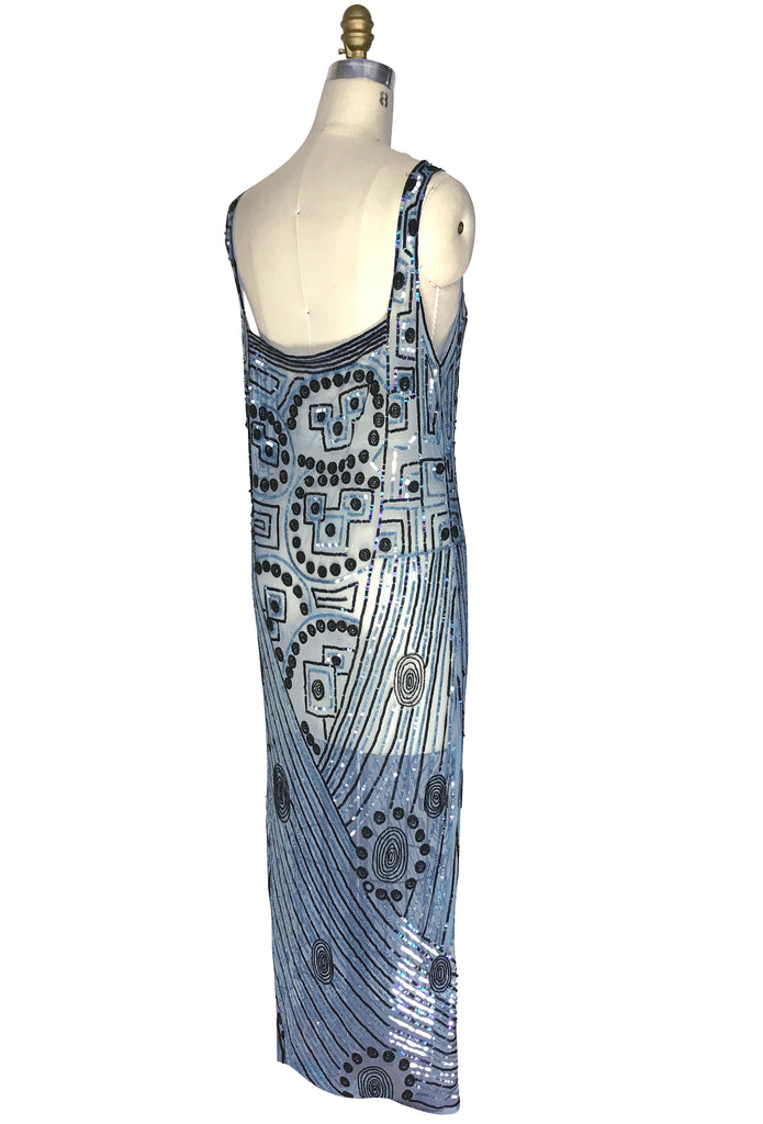 1930s Sequin Beaded Full Length Overlay Gown - The Futurist - Cerulean Blue