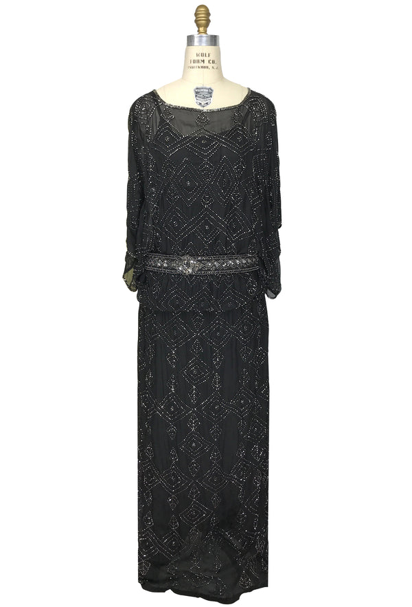1930s Silk Beaded Glamour Kimono Cocktail Lillian Gown - Black Silver