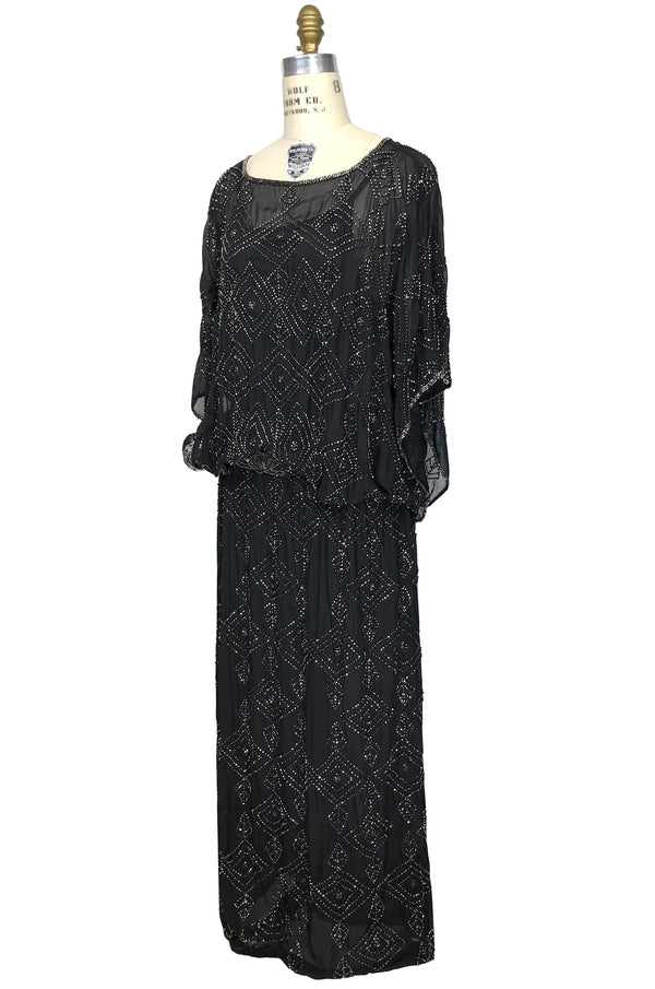 1930s Silk Beaded Glamour Kimono Cocktail Lillian Gown - Black Silver - The Deco Haus