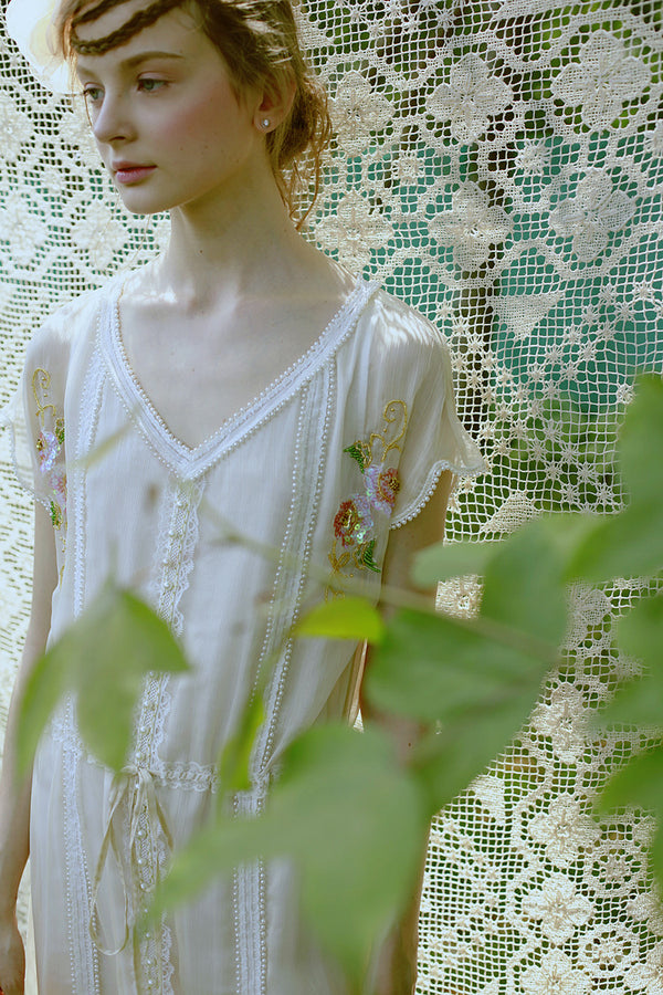 1930s Style Vintage Georgette Embroidered Beaded Romance Dress - Le Jardin - Ivory - The Deco Haus