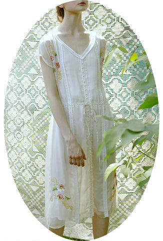1930s Style Vintage Georgette Embroidered Beaded Romance Dress - Le Jardin - Ivory