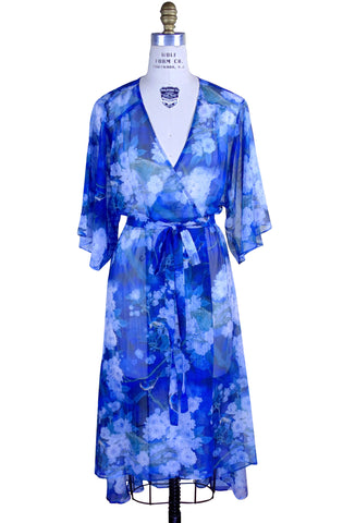 Vintage Chiffon Sheer Dressing Room Wrap Dress - Delft Blue Floral - The Deco Haus