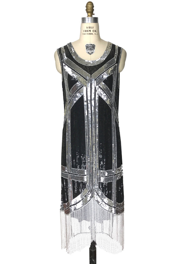 1970s Chic Beaded Glamour Decotheque Cocktail Dress - Black Silver