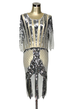 1970s Chic Beaded Glamour Glitterati Cocktail Dress - Cream Silver