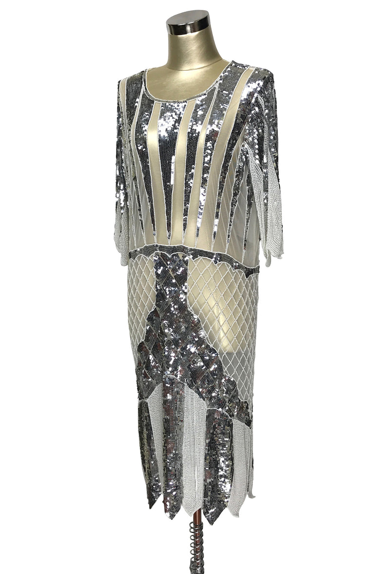 1970s Chic Beaded Glamour Glitterati Cocktail Dress - Cream Silver - The Deco Haus