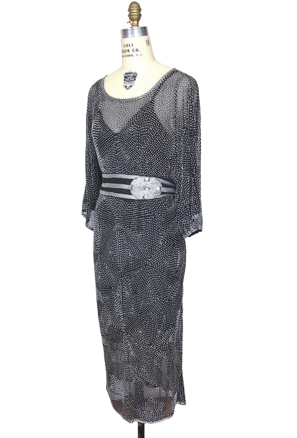 1970s Chic Beaded Glamour Kimono Cocktail Geometrique Dress - Black Matte Silver - The Deco Haus
