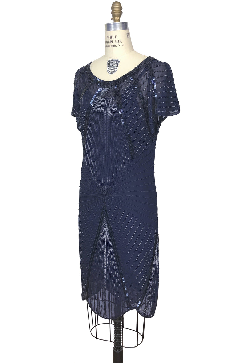 1970s Chic Beaded Glamour Limelight Cocktail Dress - Midnight Blue - The Deco Haus