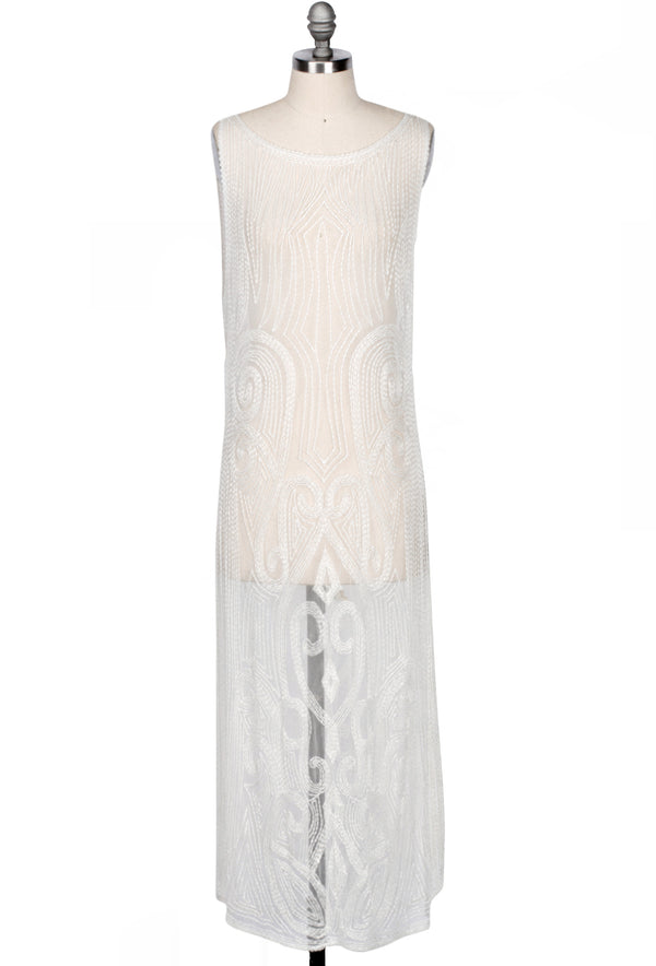 20's Vintage Beaded Mesh Gatsby Gown - The Vignette - Abalone White - The Deco Haus