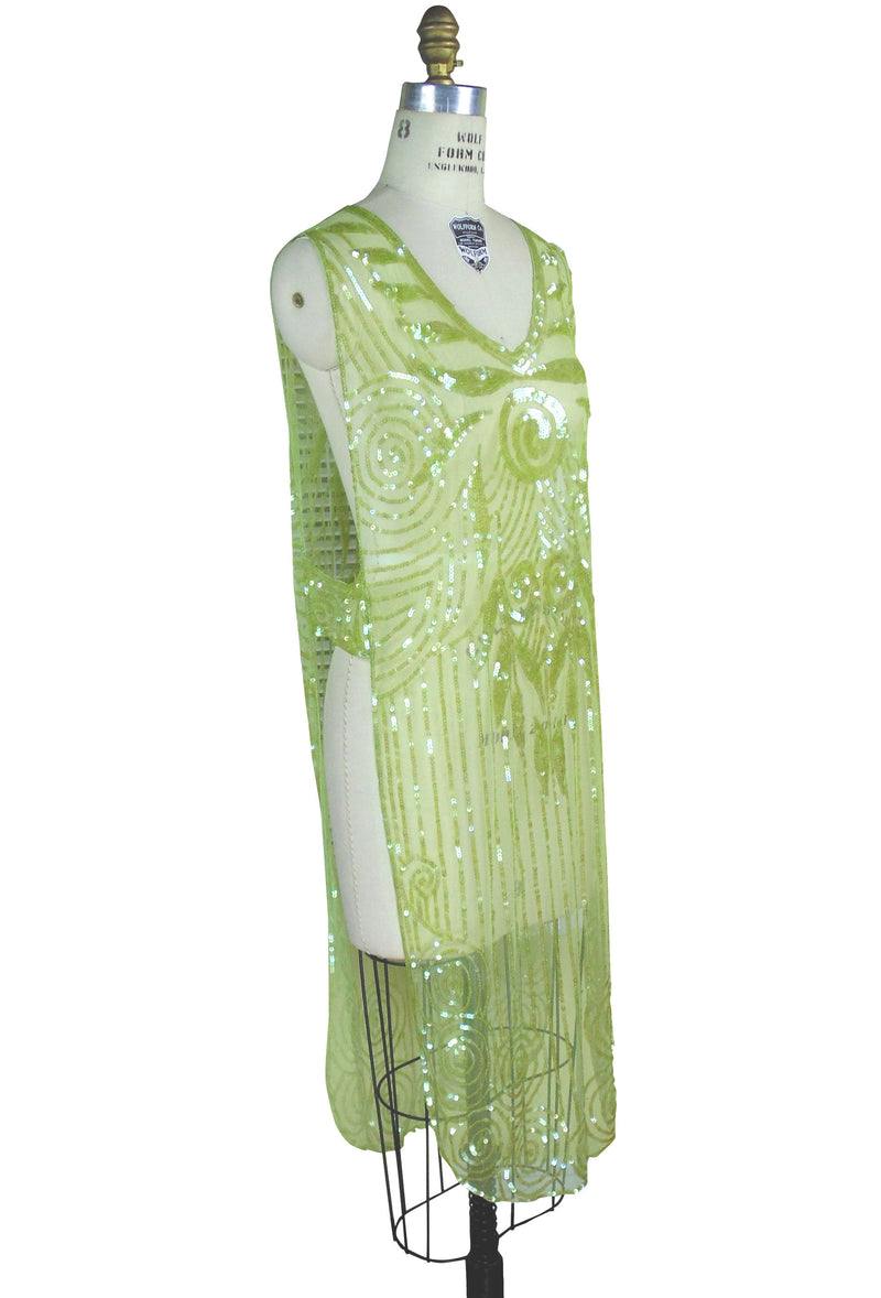 1920's Art Deco Panel Tabard Gown - The Romanesque - Nile Green - The Deco Haus