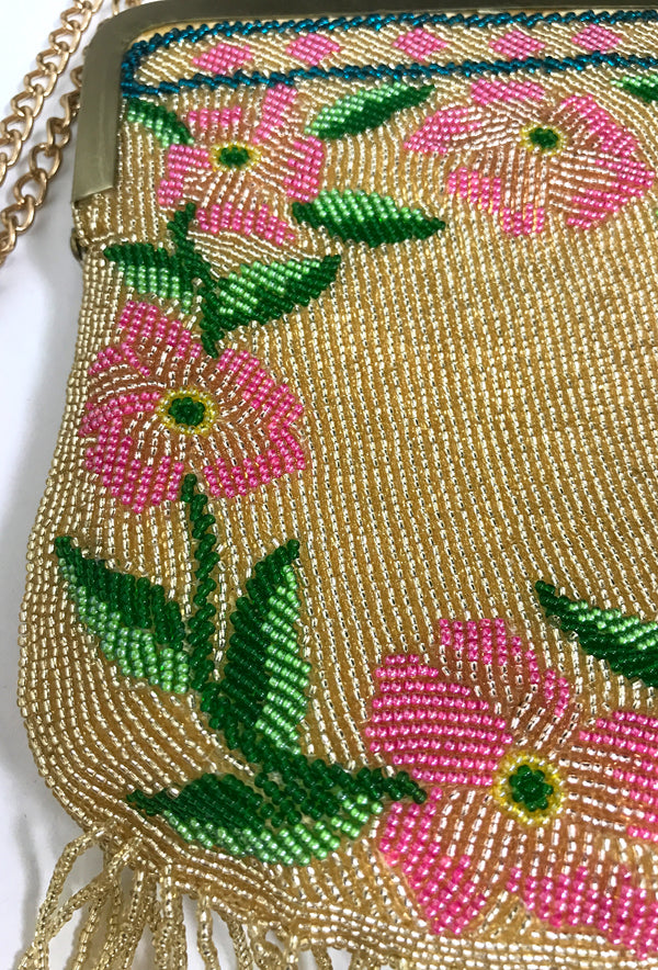Antique 1920's Inspired Gatsby Hand Beaded Evening Purse - Gold Rose Bouquet - The Deco Haus