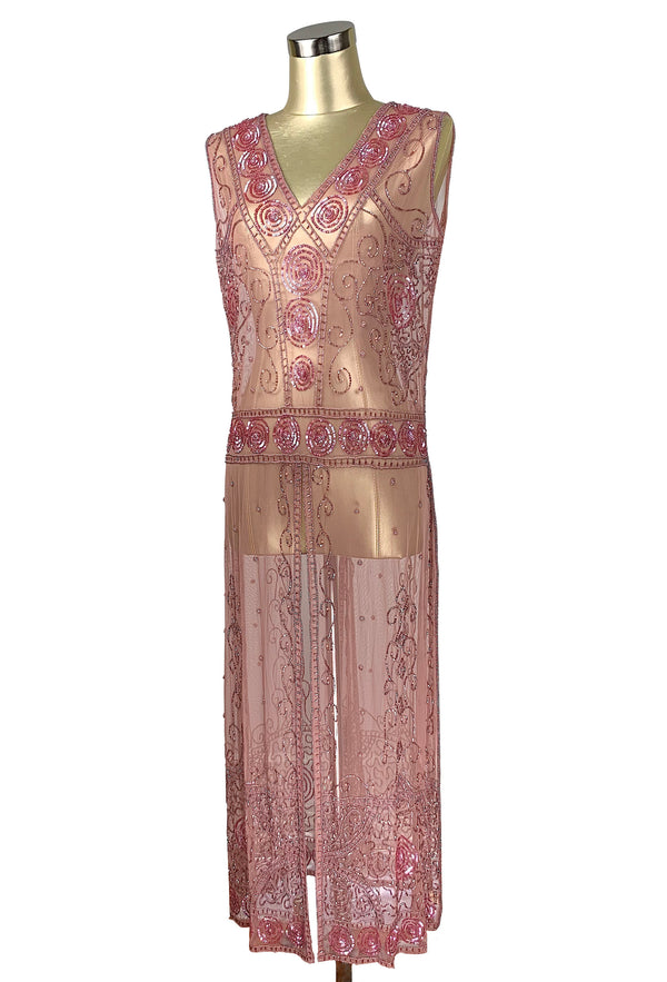 Antique Beaded Tabard Edwardian Hooked Panel Gown - The Viscountess - Rose Pink - The Deco Haus