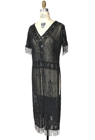 Antique Beaded Tabard Edwardian Hooked Sleeved Panel Gown - The Viscountess - Black Jet