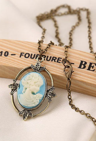 Vintage Blue Ivory Cameo Necklace