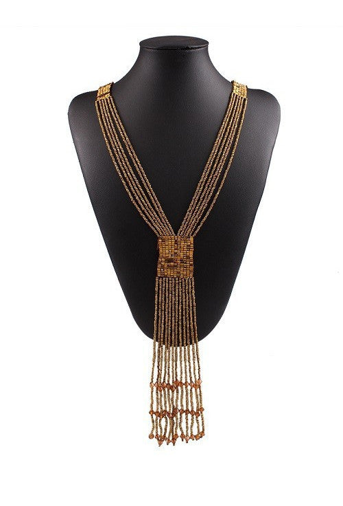 1920s Beaded Tassel Sleek Sautoir Necklace - Antique Gold - The Deco Haus