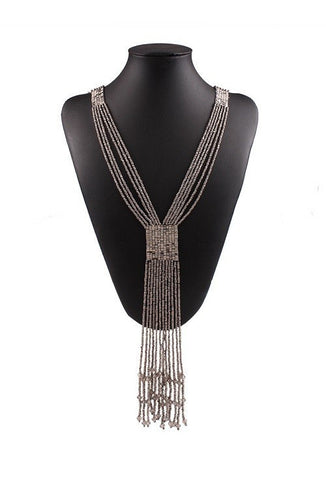 1920s Beaded Tassel Sleek Sautoir Necklace - Antique Silver - The Deco Haus