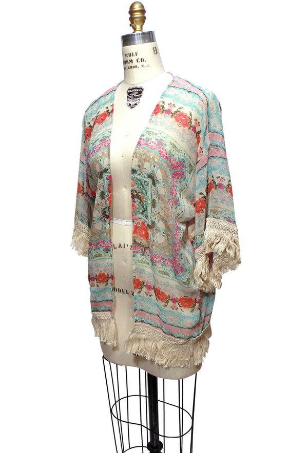 The Vintage Turkish Floral Kimono Lounge Jacket - The Deco Haus