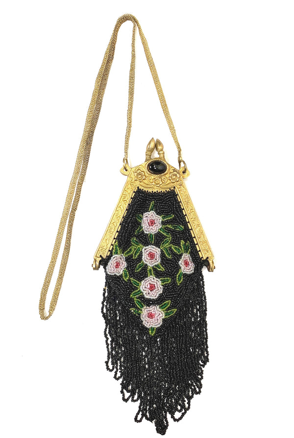 Antique Victorian Posey Inspired Beaded Fringe Evening Bag - Black