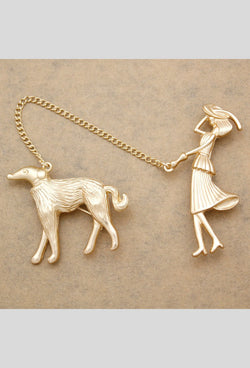 Vintage Matte Gold Greyhound Lady Chain Brooch Pin