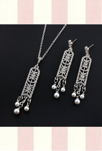 Art Deco Pearl Bridal Pave Necklace & Earring Set Antique Silver