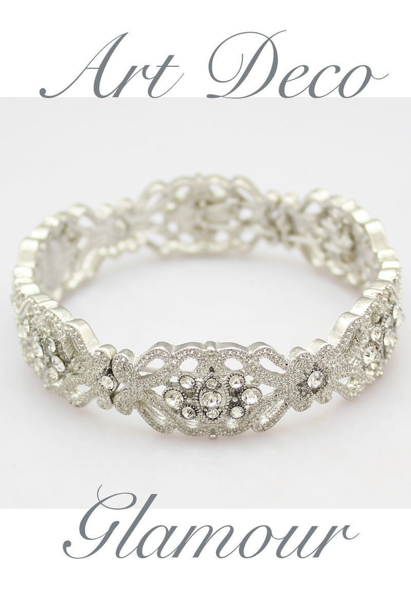 Gatsby Vintage 1920's Style Diamante Rhinestone Bracelet Vintage Crystal Bangle - The Deco Haus