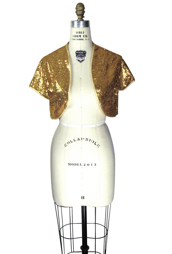 The Glam 1930s Hollywood Sequin Bolero  - Gold - The Deco Haus