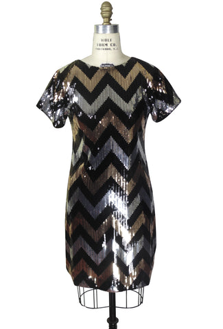 1920's Gatsby Party Tunic Dress - The Deco Chevron - Black