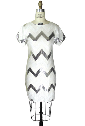 1920's Gatsby Party Tunic Dress - The Deco Chevron - White