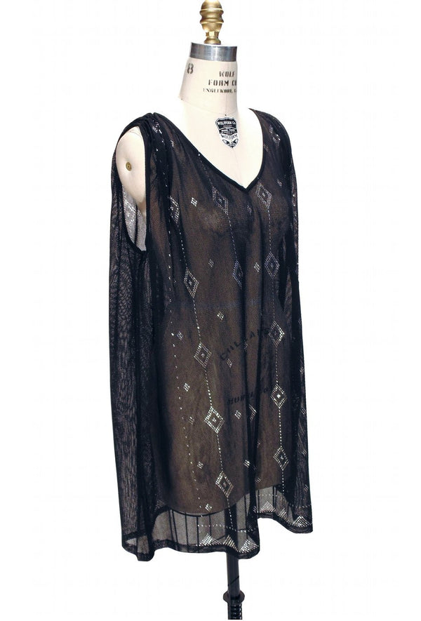1920's Style Art Deco Egyptian Metallic Assuit Tunic  - Silver on Black - The Deco Haus