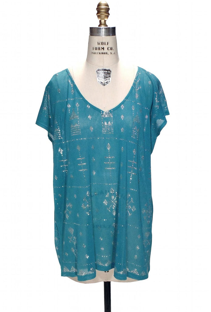 1920s Style Blouses, Tops, Sweaters, Cardigans 1920s Style Art Deco Egyptian Metallic Assuit Tunic  - Silver on Turquoise $144.95 AT vintagedancer.com