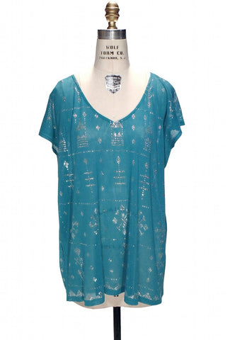 Turquoise Blue Egyptian Art Deco Assuit Tulle Bei Telli Dress