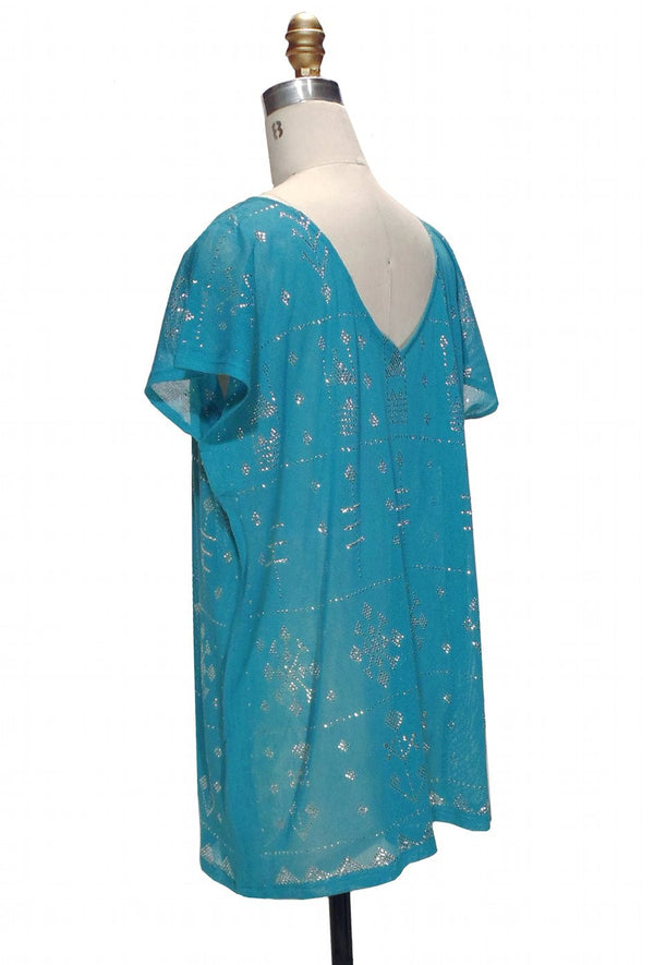 1920's Style Art Deco Egyptian Metallic Assuit Tunic  - Silver on Turquoise - The Deco Haus