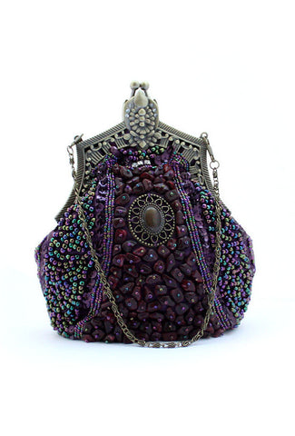 1920's Inspired Gatsby Beaded Teardrop Evening Purse - Aubergine