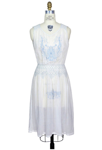 The Heirloom Dress - Baby Blue on White