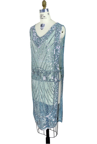 1920's Beaded Vintage Deco Tabard Panel Gown - The Modernist - Ice Blue - The Deco Haus