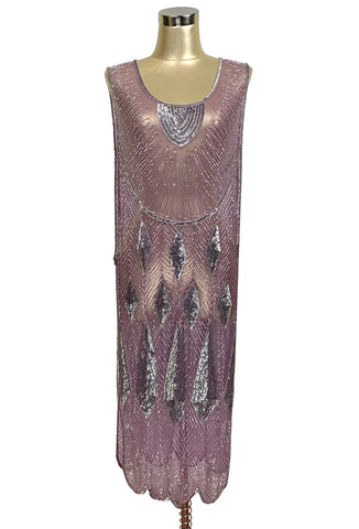 Beaded 1920s Tabard Gatsby Gown - The Bijou - Plum Sterling