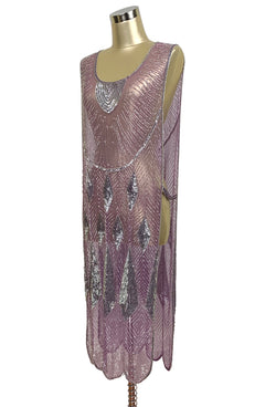Beaded 1920s Tabard Gatsby Gown - The Bijou - Plum Silver - The Deco Haus