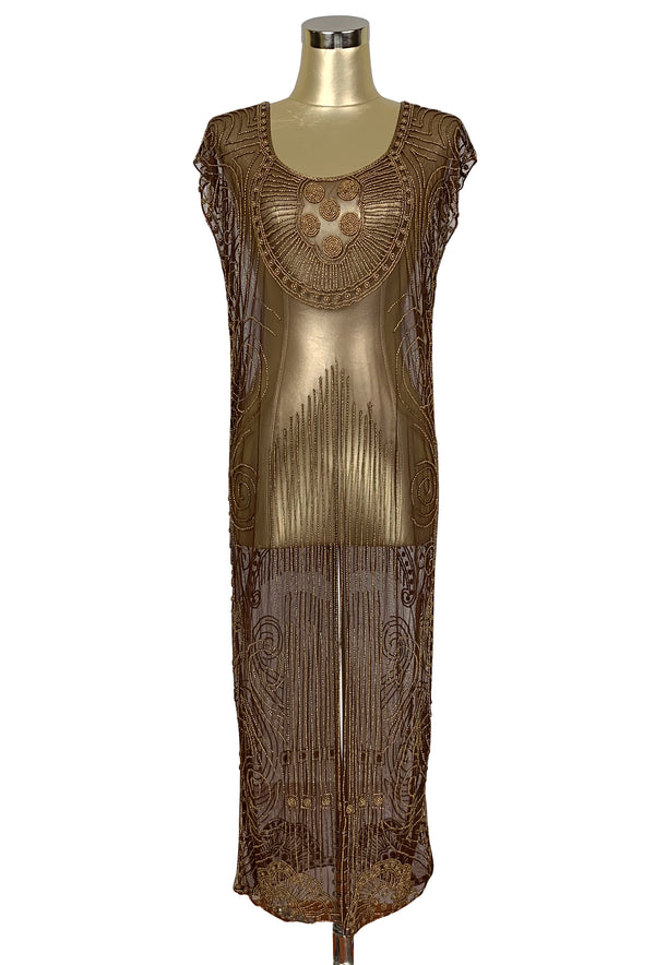 Beaded 1920s Tabard Gatsby Gown - The Egyptian - Antique Gold on Chocolate Brown