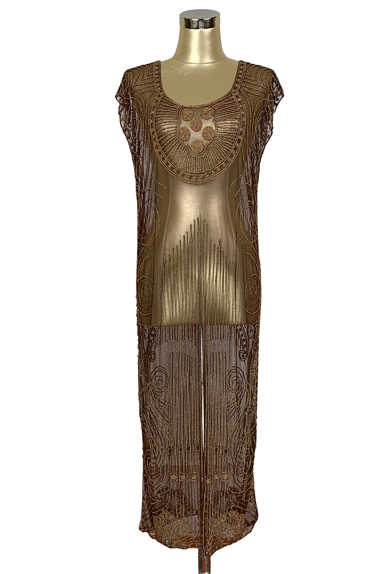 Beaded 1920s Tabard Gatsby Gown - The Egyptian - Antique Gold on Chocolate Brown - The Deco Haus