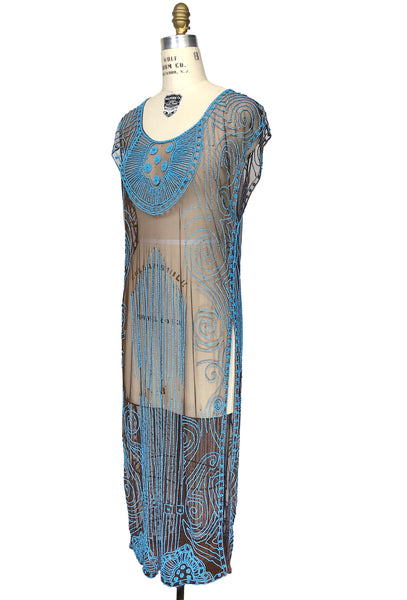 Beaded 1920s Tabard Gatsby Gown - The Egyptian - Turquoise on Chocolate Brown - The Deco Haus