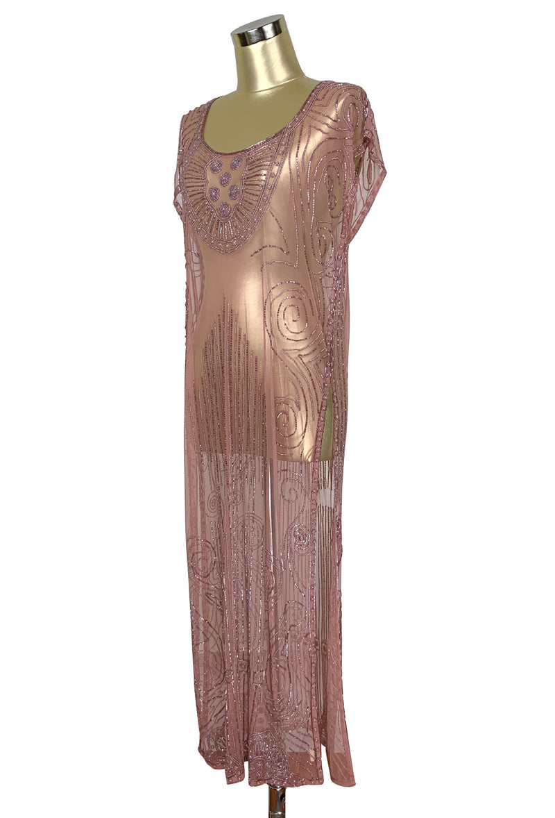 Beaded 1920s Tabard Gatsby Gown - The Egyptian - Crystal Pink - The Deco Haus
