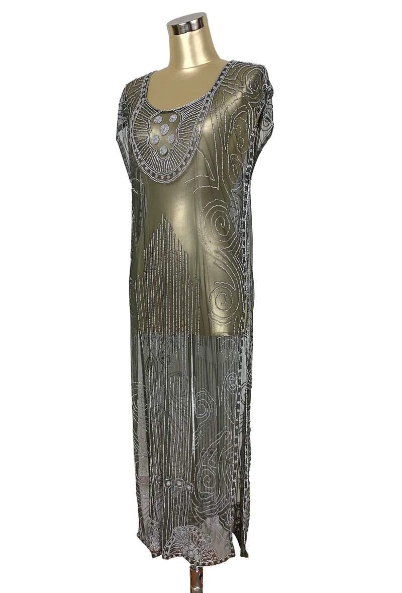 Beaded 1920s Tabard Gatsby Gown - The Egyptian - Matte Silver on Olive Green