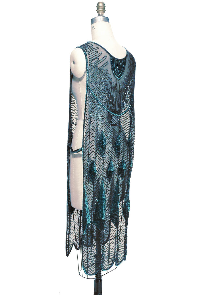 Beaded 1920s Tabard Gatsby Gown - The Bijou - Tourmaline Jet - The Deco Haus