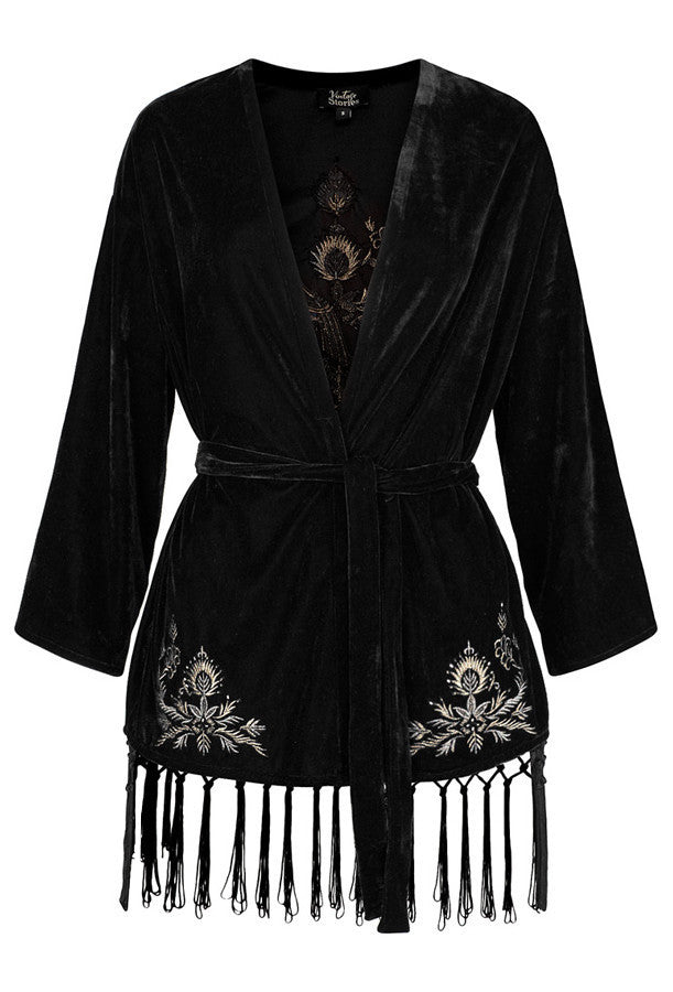 1920s Style Shawls, Wraps, Scarves The 1920s Black Velvet Metallic Thread Peacock Smoking Jacket $179.95 AT vintagedancer.com